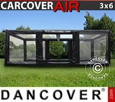 Garaje hinchable 3x6m, PVC, Negro/Transparente con turbina