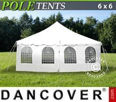 Carpa para fiestas Pole tent 6x6m PVC, Blanco
