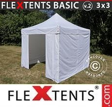 Carpa plegable FleXtents Basic v.2, 3x3m Blanco, Incl. 4 lados