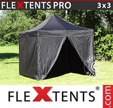 Carpa plegable FleXtents PRO 3x3m Negro, incl. 4 lados
