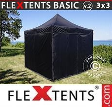 Carpa plegable FleXtents Basic v.2, 3x3m Negro, Incl. 4 lados