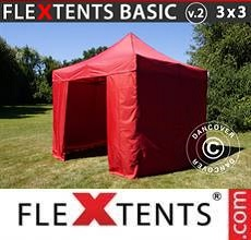 Carpa plegable FleXtents Basic v.2, 3x3m Rojo, Incl. 4 lados