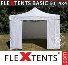Carpa plegable FleXtents Basic v.2, 4x4m Blanco, Incl. 4 lados