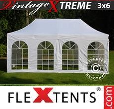 Carpa plegable FleXtents Xtreme Vintage Style 3x6m Blanco, Incl. 6 lados
