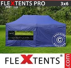 Carpa plegable FleXtents  PRO 3x6m Azul oscuro, Incl. 6 lados