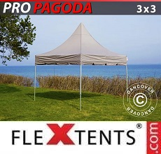 Carpa plegable FleXtents PRO Peak Pagoda 3x3m Latte