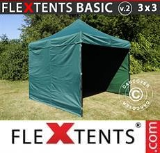 Carpa plegable FleXtents Basic v.2, 3x3m Verde, Incl. 4 lados