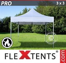 Carpa plegable FleXtents PRO 3x3m Blanco, Ignífuga