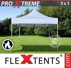 Carpa plegable FleXtents Xtreme 3x3m Blanco, Ignífuga