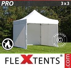Carpa plegable FleXtents PRO 3x3m Blanco, Ignífuga, Incl. 4 lados