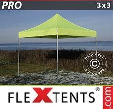 Carpa plegable FleXtents PRO 3x3m Amarillo Flúor/verde
