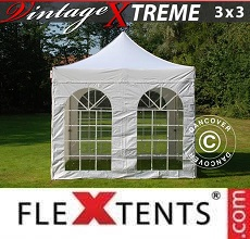 Carpa plegable FleXtents  Xtreme Vintage Style 3x3m Blanco, Incl. 4 lados