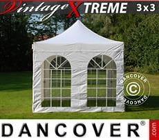 Flextents Carpas Eventos Xtreme Vintage Style 3x3m Blanco, Incl. 4 lados