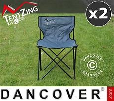 Silla de acampada, plegable, TenZing®, Gris, 2 piezas
