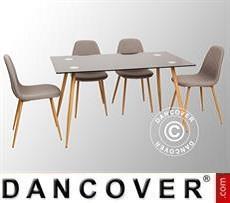 Juego de comedor con 1 mesa de comedor Torino, Negro/Roble + 4 sillas