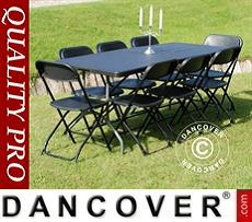 Conjunto para fiesta, 1 mesa plegable (182cm) + 8 sillas, Negro