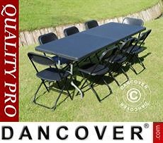 Conjunto para fiesta, 1 mesa plegable (242cm) + 8 sillas, Negro