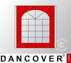 Muro lateral con ventana de Carpa para fiesta UNICO, PVC/Poliéster, 2m, Rojo