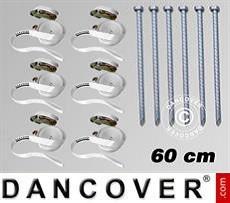 Pack de seguridad 6 (estacas 60cm y cinchas de sujeción), Blanco