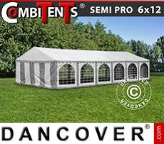 Carpa, SEMI PRO Plus CombiTents™ 6x12m 4 en 1, Blanco/Gris