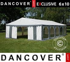 Carpa para fiestas 6x10m PVC, Gris/Blanco