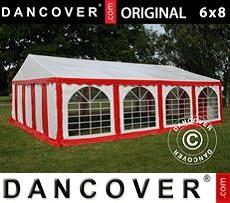 Carpa para fiestas 6x8m PVC, Rojo/Blanco