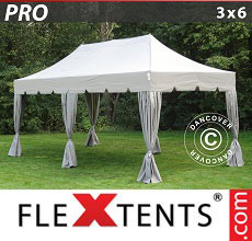 Carpa plegable FleXtents 3x6m Latte, incl. 6 cortinas decorativas