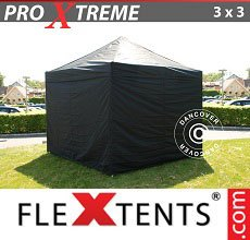 Carpa plegable FleXtents 3x3m Negro, Incl. 4 lado
