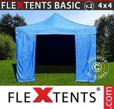 Carpa plegable FleXtents 4x4m Azul, incl. 4 lados