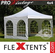 Carpa plegable FleXtents 4x4m Blanco, Incl. 4 lados