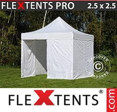 Carpa plegable FleXtents 2,5x2,5m Blanco, Incl. 4 lados