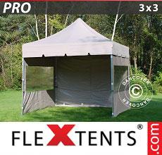 Carpa plegable FleXtents 3x3m Latte, incl. 4 lados