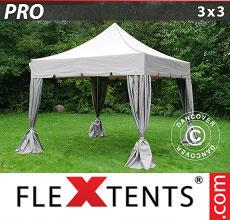 Carpa plegable FleXtents 3x3m Latte, incl. 4 cortinas decorativas