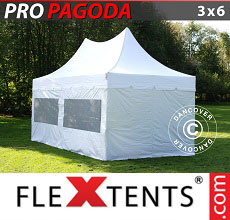 Carpa plegable FleXtents 3x6m Blanco, incluye 6 muros laterales