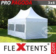 Carpa plegable FleXtents 3x6m Blanco, incluye 6 muros laterales