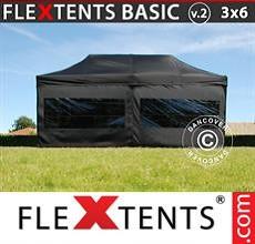 Carpa plegable FleXtents 3x6m Negro, Incl. 6 lados