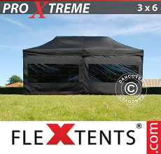 Carpa plegable FleXtents 3x6m Negro, Incl. 6 lado