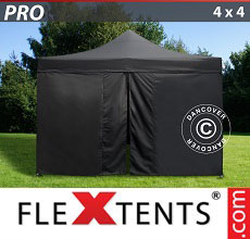 Carpa plegable FleXtents 4x4m Negro, incl. 4 lados
