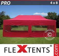 Carpa plegable FleXtents 4x8m Rojo, Incl. 6 lados