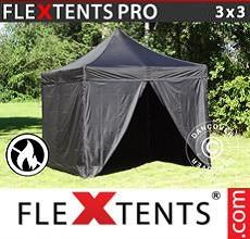 Carpa plegable FleXtents 3x3m Negro, Ignífuga, incl. 4 lados