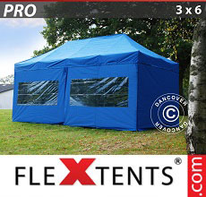 Carpa plegable FleXtents 3x6m Azul, incl. 6 lados