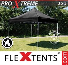 Carpa plegable FleXtents 3x3m Negro, Ignífuga