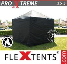 Carpa plegable FleXtents 3x3m Negro, Ignífuga, Incl. 4 lado