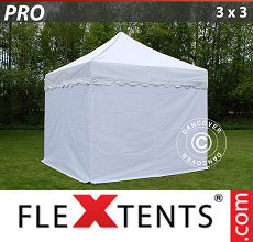 Carpa plegable FleXtents 3x3m Blanco, Incl. 4 lados