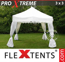 Carpa plegable FleXtents 3x3m Blanco, incl. 4 cortinas...