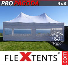Carpa plegable FleXtents 4x8m Blanco, incluye 6 muros laterales