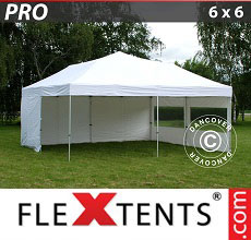 Carpa plegable FleXtents 6x6m Blanco, Incl. 8 lados