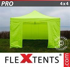 Carpa plegable FleXtents 4x4m Amarillo Flúor/verde, Incl. 4 lados