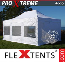 Carpa plegable FleXtents 4x6m Blanco, Incl. 8 lados
