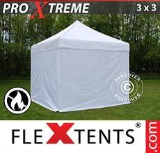 Carpa plegable FleXtents 3x3m Blanco, Ignífuga, Incl. 4 lados